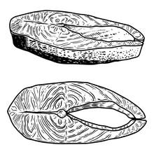 Set Of Illustration Of Salmon Meat Cuts In Engraving Style. Design Element For Poster, Label, Sign, Emblem, Menu.