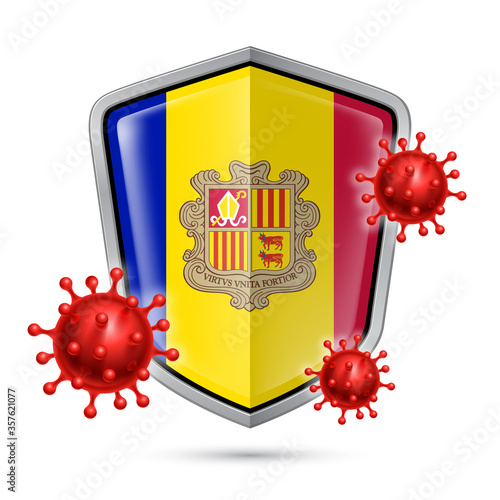 Flag of Andorra on Metal Shiny Shield Icon and Red Corona Virus Cells Canvas Print