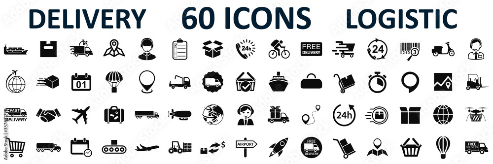 Fototapeta Set logistics icons, delivery, shipping signs – stock vector