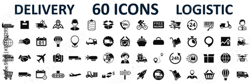 Set logistics icons, delivery, shipping signs – stock vector