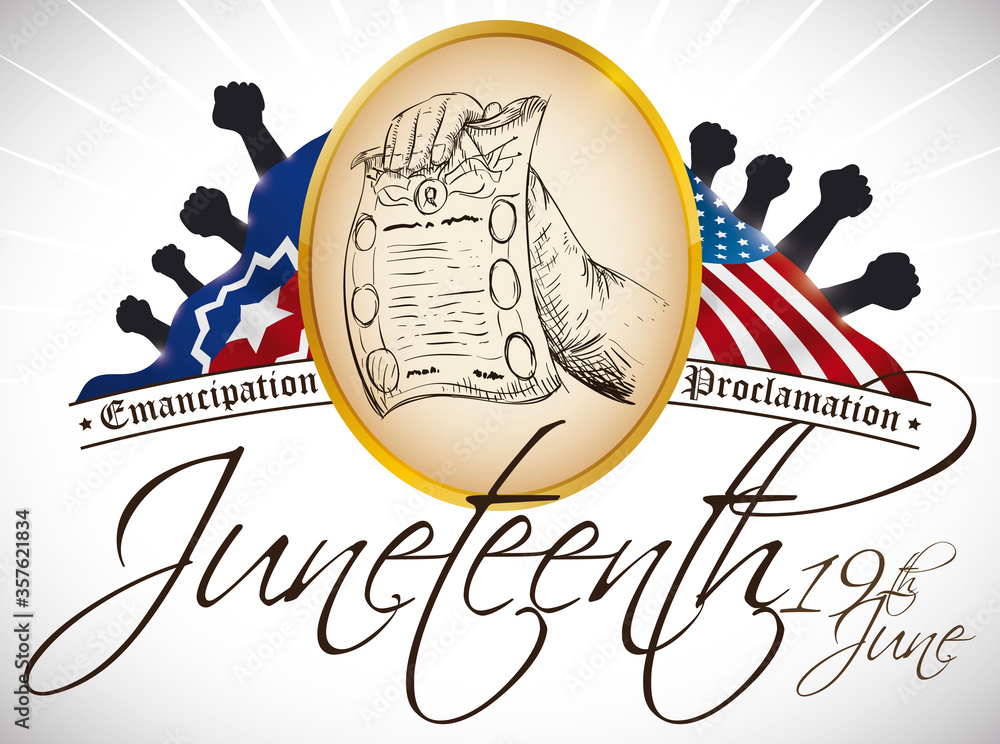 Fototapeta Button, American and Juneteenth Flags and Fist Silhouettes to Celebrate it, Vector Illustration