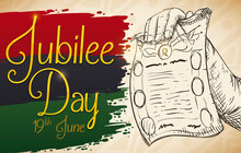 Scroll With Pan-African Splashed Colors And Arm Drawing For Jubilee Day, Vector Illustration