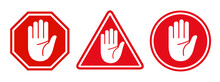 Set Stop Red Sign Icon With Wh...
