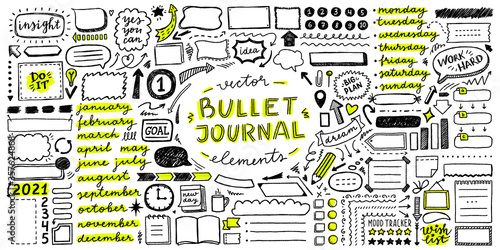 vector set of elements for bullet journal Poster Mural XXL