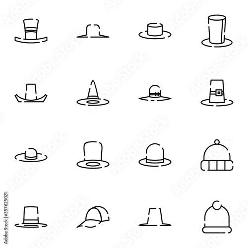 Photo Hat, homburg and panama hat icon set