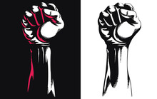 Silhouette Raised Fist Hand Clenched Protest Punch Vector Icon Logo Illustration Isolated On White Background