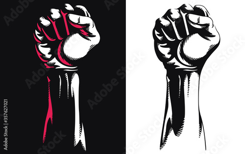 Valokuvatapetti Silhouette raised fist hand clenched protest punch vector icon logo illustration