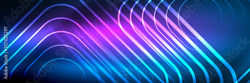 Fototapeta Shiny neon glowing techno lines, hi-tech futuristic abstract background template with square shapes obraz