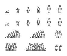 Vector Set Of Life Cycle Line Icons. People Of Different Ages, Man And Women, Family, Stages Of Growing Up.