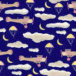 Leinwandbild Motiv Planes in the sky with clouds at night seamless pattern night