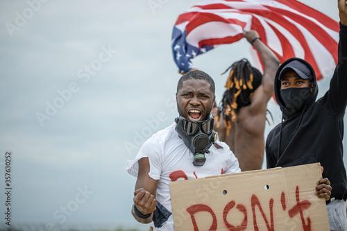 Valokuva Portrait of three angry men protesting