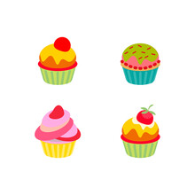 Little Delicious Cupcakes Vector Set Isolated On White Background Flat