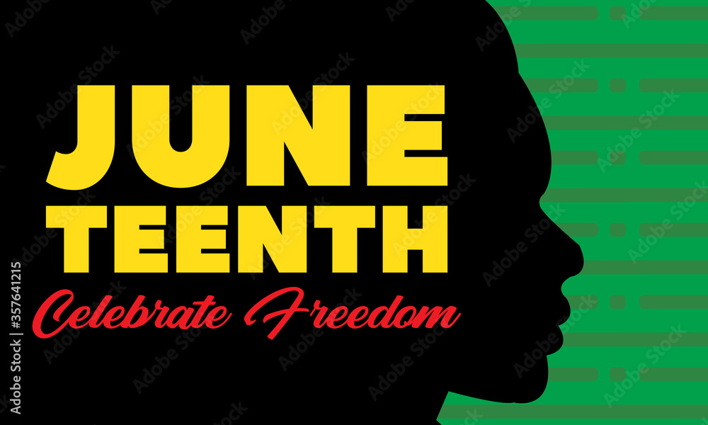 Fototapeta Juneteenth Freedom Day. African-American Independence Day, June 19. Juneteenth Celebrate Black Freedom. T-Shirt, banner, greeting card design.