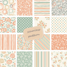Collection Of Retro Seamless Patterns From The 50s And 60s. Seamless Vintage Pattern In Flowers, Polka Dots. Vector Illustration