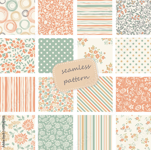 Collection of Retro seamless patterns from the 50s and 60s Canvas Print