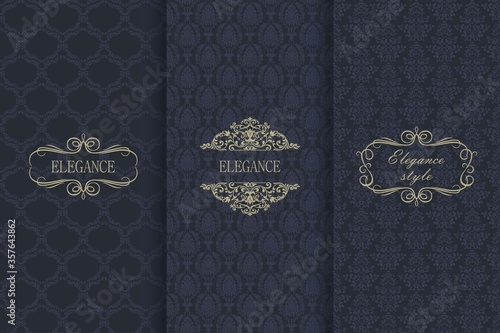 Obraz Set of Vintage seamless damask pattern. Template greeting card, invitation and advertising banner, brochure. Collection of design elements, labels, icon, frames for packaging, design of luxury product - fototapety do salonu