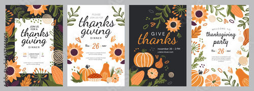 Obraz Set of four templates for Thanks Giving celebrations with seasonal fall produce and flowers surrounding central copy space and text, colored vector illustration - fototapety do salonu