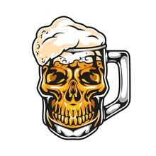 Skull In Shape Of Mug Beer