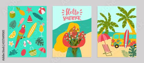 Obraz Set poster hello summer concept banner, pattern tropical hot relax flat vector illustration. Surf flyer advertising, ocean rest seaside. Templates ads billboard, palm tree woman hold bouquet flower. - fototapety do salonu