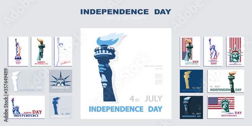 Slika na platnu Independence day poster, hand with torch, presentation, banner
