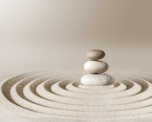 Japanese Zen Garden Meditation Stone, Concentration And Relaxation Sand And Rock For Harmony And Balance