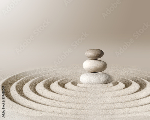 Japanese zen garden meditation stone, concentration and relaxation sand and rock Tableau sur Toile