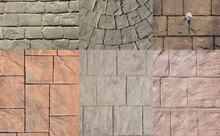 Stamped Concrete Pavement For Exterior Floor, Compositions With Many Designs Decorative Appearance Of Paved Slate Stone Tile Printed On Cement