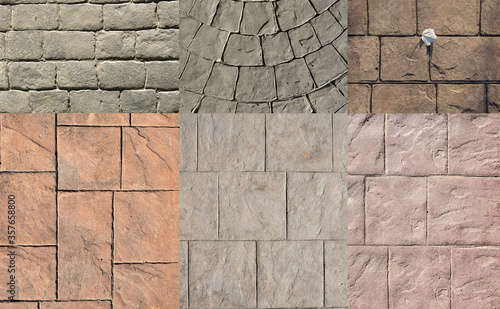 Cuadros en Lienzo Stamped concrete pavement for exterior floor, compositions with many designs dec