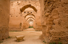 Ancient Ruins Of Royal Stables And Granaries In Meknes, Morocco, Used To Provide Stabling For 12,000 Royal Horses. A UNESCO World Heritage Site.