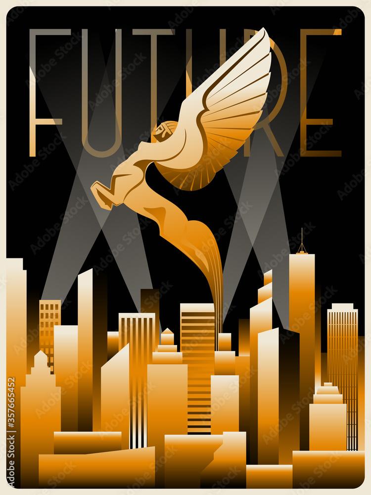 Winged Horse Art Deco Style Statue, Golden Buildings Cityscape, Retro Future Style Placard