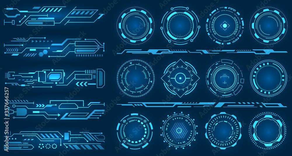 Fototapeta Set Element for Futuristic Design. Interactive Interface Control Panels