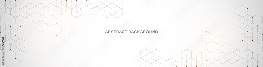 Fototapeta Banner design template. Abstract background with geometric shapes and hexagon pattern. Vector illustration for medicine, technology or science design.