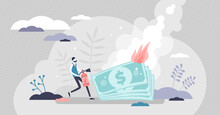 Burning Money Vector Illustration. Financial Fire Flat Tiny Persons Concept.