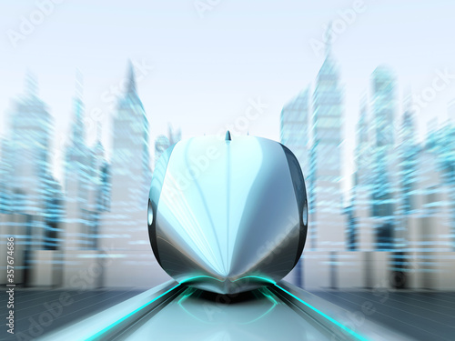 Front view of magnetically levitating train at high speed with motion blur on the background of the towers and skyscrapers Tablou Canvas