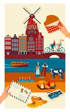 Netherlands Travel Postcard, Main Symbols Of Dutch Culture And Sightseeing Landmarks, Vector Illustration. Amsterdam Canals And Traditional Architecture, Costumes And Cuisine. European Trip Souvenir