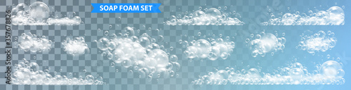 Fototapeta Soap foam with bubbles isolated vector illustration on transparent background