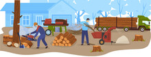Logging Wood Industry, Timbers, Lumber Truck With Loggs Vector Illustration. Wood Production And Forestry. Trees, Forest Logging, Industrial Carpentry, Firewood Transportation And Sawmill.