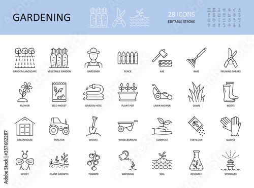 Cuadros en Lienzo Vector set of gardening icons