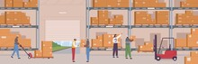 People In Safety Clothes Work At Warehouse Vector Flat Illustration. Man And Woman Inside Storage Of Logistic Delivery Service. Staff Surrounded By Boxes On Rack And Transport Of Storehouse Interior