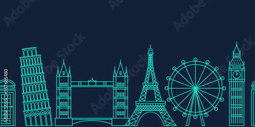 Fototapeta Famous european landmarks in line art style. Illustration suitable for travel, leisure and souvenir themes. obraz