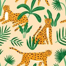 Cute Exotic Hand Drawn Leopard...