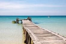 Old Wooden Pier, Lazy Beach, Koh Rong Samloem Island, Sihanoukville, Cambodia.