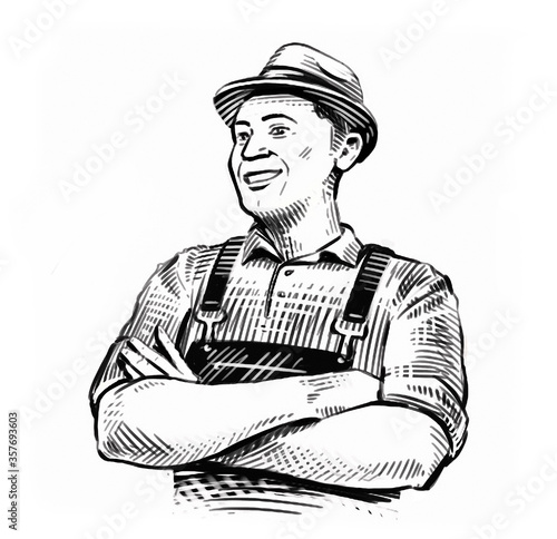 Cuadros en Lienzo Hand-drawn sketch happy farmer in hat isolated on white background
