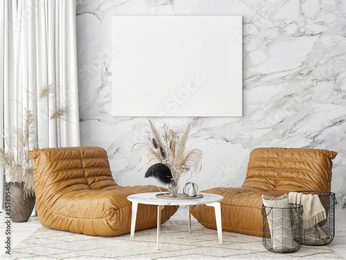 Fotografía Home interior mock-up poster, Scandinavian design, two armchairs, 3d render, 3d