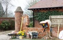 Construction Work, Brick Laying, Contructing Garden Wall, UK