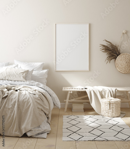 Mock up frame in bedroom interior background, beige room with natural wooden furniture, 3d render - 357705671