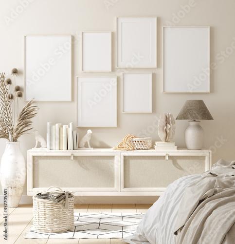 Fototapeta Mock up frame in bedroom interior background, beige room with natural wooden furniture, 3d render obraz