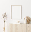 canvas print picture - Mock up frame in home interior background, white room with natural wooden furniture, Scandi-Boho style, 3d render