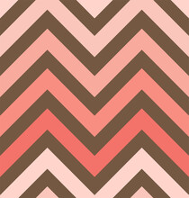Vector Zigzag Seamless Pattern, Gradient, Living Coral, Toffee Brown