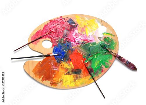 Artist's palette on white background Billede på lærred